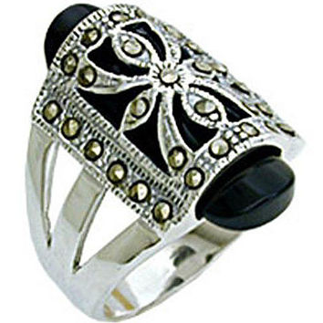 Sterling Silver Antique Black Onyx Marcasite Ring