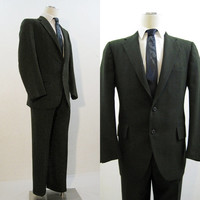 50s 60s Suit Vintage Men's Green Blue Pinstriped Jacket & Pants 42 Mod Mad Men