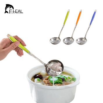 FHEAL 2 in 1 Long Handle Stainless Steel Spoon Soup with Filter Tableware Flatware Cooking Tools Kitchen Accessories