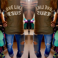 Love Like Jesus Tee - Light Olive