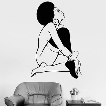 Vinyl Wall Decal Sexy Lady Black African Woman Naked Stickers Unique Gift (1061ig)