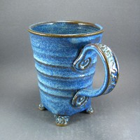 Textured Feet Mug with Twisted Spiral and Squared Details in Cobalt Bl | TheMudPlace - Ceramics & Pottery on ArtFire