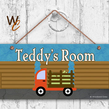 "Farm Truck Sign, Boys Room Sign, Personalized Sign, Kid's Name, Kids Door Sign, Nursery Art, 5"" x 10"" Sign, Made To Order"