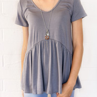 All Ruffled Up Blouse Grey