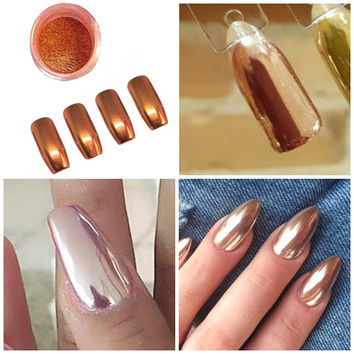 Shinny Zilver Vlokken Glitter Rose Gold Mirror Chrome Powder Effect Nails Art Pigment Silver Focallure M03311