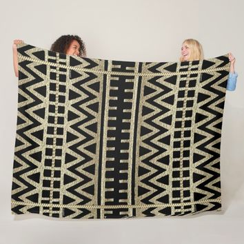 Black and Gold African Mud Cloth Print Fleece Blanket