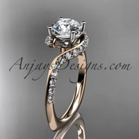 Unique 14k rose gold engagement ring, wedding ring ADLR277