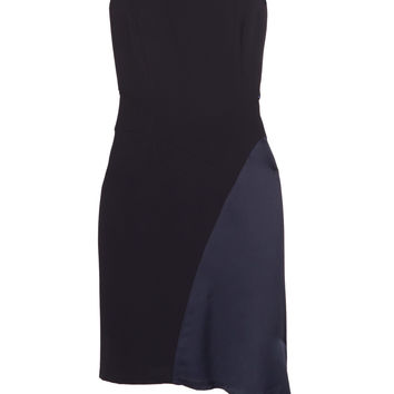 Iris and Ink Maya asymmetric satin-paneled crepe mini dress – 0% at THE OUTNET.COM
