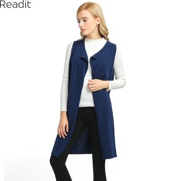 Readit Long Cardigan Female Waistcoat Knitted Long Vest Coat Sleeveless Casual Outwear Roupa Female Sweater Women K2411