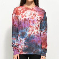 Zine Monroe Blue, Purple & Red Tie Dye Long Sleeve T-Shirt | Zumiez