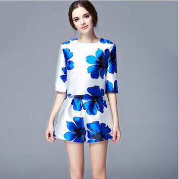 Big Blue Floral Print Mid-Sleeve Blouse and Short