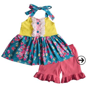 Kids Clothes Baby Girl Summer Outfits Floral Swing Top Ruffles Shorts Boutique Cotton Clothing Sets CONICE NINI 2GK901-1005