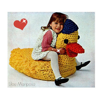 Crochet Pattern Vintage 70s CROCHET TOY PATTERN Duck Crochet Stuffed Animal Crochet Baby Toy Pattern Instant Download