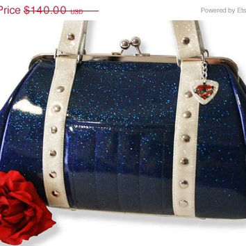 Royal Blue Sparkle Handbag with Your Choice of Trim, Rockabilly Purse, Navy Blue - MADE TO ORDER