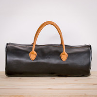 Black & Tan Leather Duffle Bag Weekend Gym or Travel Handmade and Hand stitched