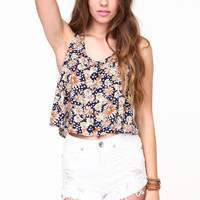 FLORAL RACERBACK CROP TOP