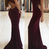 Trumpet Mermaid Burgundy V-neck Jersey Sweep Train Appliques Lace Prom Dresses G2484