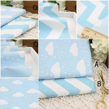One pieces 40*50cm  Blue weather or wave Printed Cotton Fabric for Home Textile Bedding Quilting Tissue Tecido to Patchwork