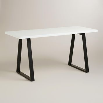 White Lacquer and Blackened Metal Colton Mix & Match Desk