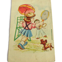 Illustrated Cartoon Postcard . Vintage Postcard . Boy and Girl Playing Tennis .