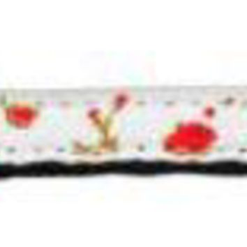 CREYHJ2 Roses Nylon Ribbon Leash Red 3-8 inch wide 4ft Long