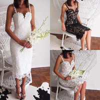 Women Sexy Lace Sleeveless Evening Formal Party Cocktail Prom Gown Long Dress