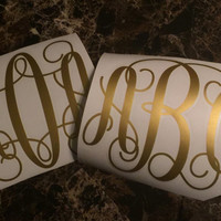 2 Pack - 3 Initial Monogram Decal