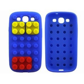 Dark Blue Toy Building Block 3D Silicone Case Cover for Samsung Galaxy S3 i9300