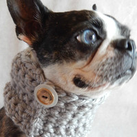 Grey dog Cowl scarf  hand crocheted neck warmer with a vintage button Boston Terrier