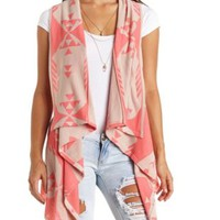 Cascade Aztec Sweater Vest by Charlotte Russe - Drk Coral Cmb