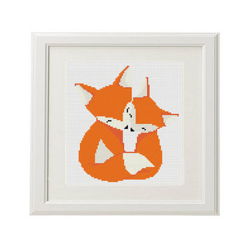 Fox Cross stitch pattern funny Forest animal cross stitch pattern modern Counted cross stitch pattern love xstitch pattern Gift idea