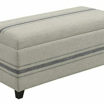 Coaster 910151 Grey blue linen like fabric upholstered storage bedroom ottoman bench