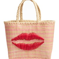 RICE Vichy Fantasy Medium Raffia Tote | Nordstrom