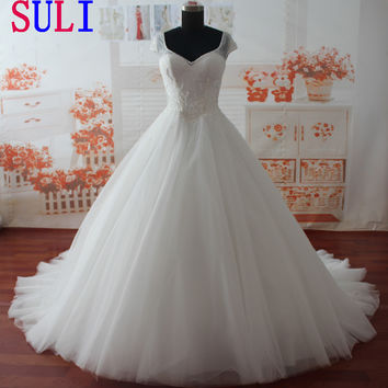 SL0396 A-line Bridal Gown lace beading Short sleeves Pearls Wedding Dress 2016