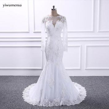 yiwumensa vestidos de noiva Mermaid long wedding dresses 2018 Appliques Lace bohemian wedding dress Long sleeves Bridal gowns