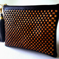 Woven Women Clutch Bag - Black & Dark Gold Colors, Women Evening Clutch Bag, Vegan Leather Bag, Faux Leather bag, Weaving clutch bag