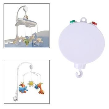 Baby toys RattlesWhite Baby Crib Musical Mobile Cot Bell Music Box 35 Melodies Song Crib Electric Bed Bell  Toys for newborns