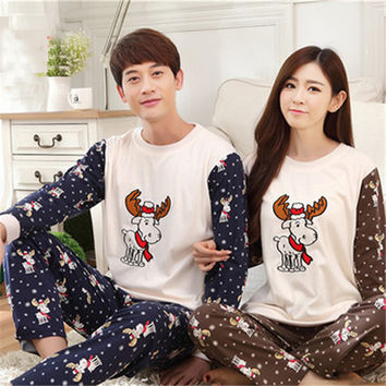 Pajamas for Men Cotton Men's Sleepwear Female 2016 Cartoon Lovers Pajamas Korean Long-Sleeved Pijama Hombre Marca Mens Pajama
