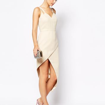 VLabel London Lyle Wrap Front Midi Dress With Cami Straps