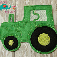 Felt tractor puzzle embroidered, embroidery, jigsaw puzzle, learning toy, activity, quiet game, kids toys montessori, homeschool, busy book