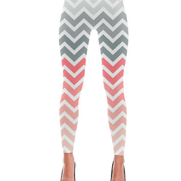 Coral Peach Grey Fade Chevron Pattern Leggings