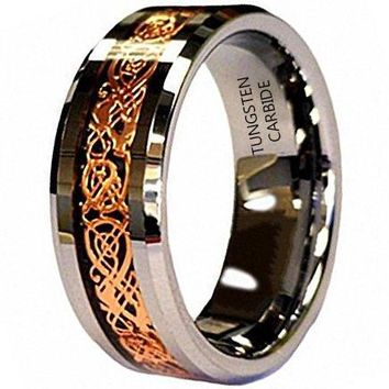 8mm Rose Celtic Dragon inlay Tungsten Comfort Fit Wedding Band Engagement Ring