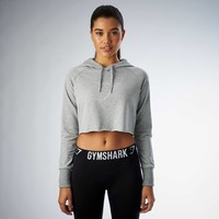 Gymshark Cropped Hoodie - Light Grey Marl
