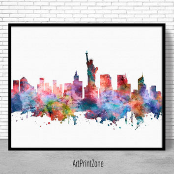 New York Skyline, New York Print, New York Poster, New York Art Print, City Skyline Prints, Skyline Art, Cityscape Art, ArtPrintZone
