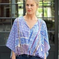 Cute Blue Print Poncho-Collective Concepts Mosaic Print Poncho-$53.00 | Hand In Pocket Boutique