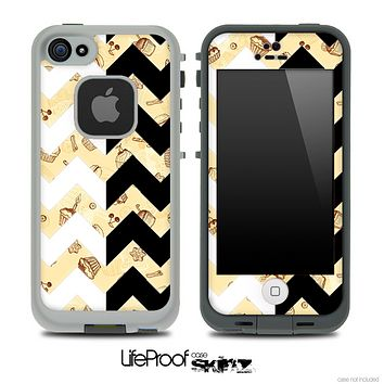 Vintage Treats & Black/White Chevron Pattern Skin for the iPhone 5 or 4/4s LifeProof Case
