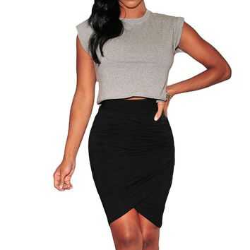 High waist gathered on the side above the knee skirt