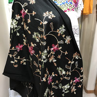 Embroidered Shawl Black Floral