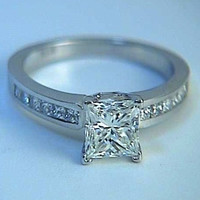 2.60ct D-VVS1 GIA Princess Diamond Engagement Ring 18kt JEWELFORME BLUE