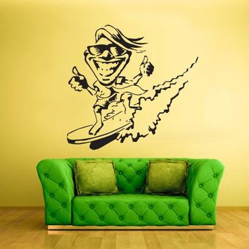 Wall Vinyl Decal Sticker Bedroom Decal Decal Cartoon Surfer Ocean Sea Beach  z413
